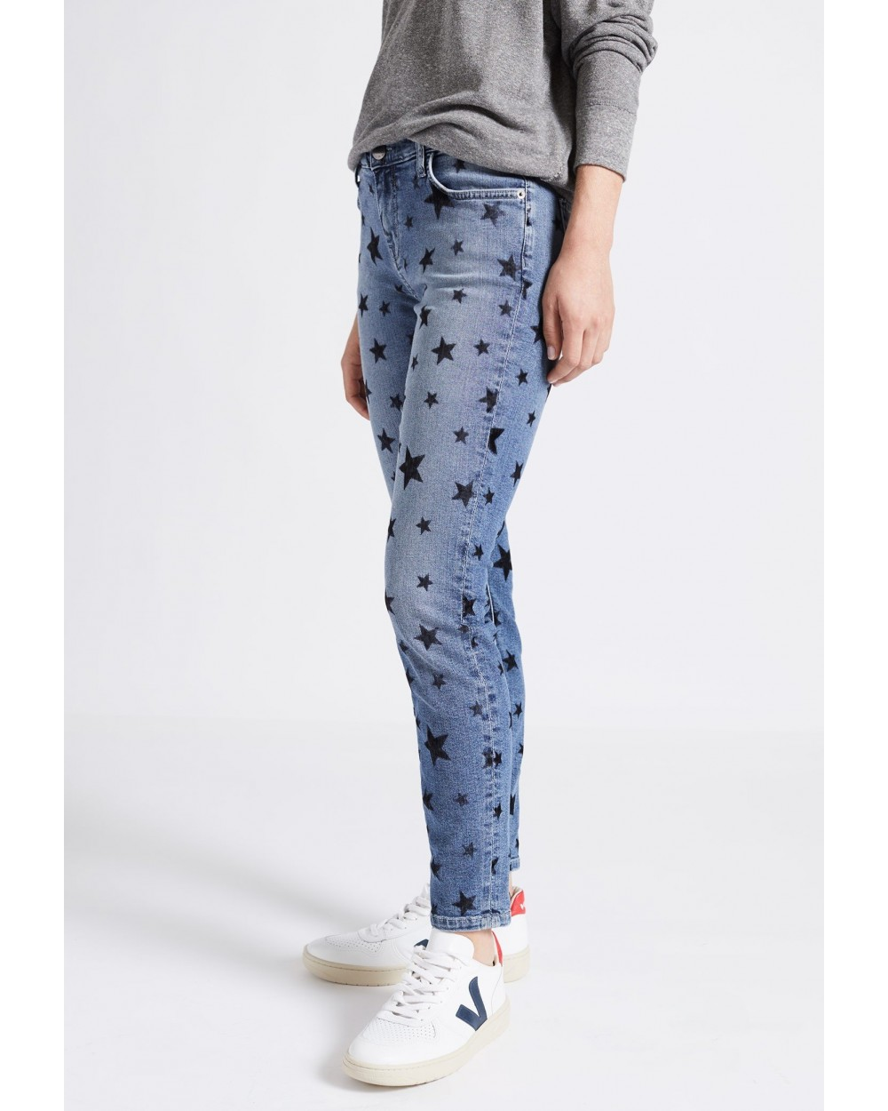 JEANS THE STILETTO FLOCKED STAR