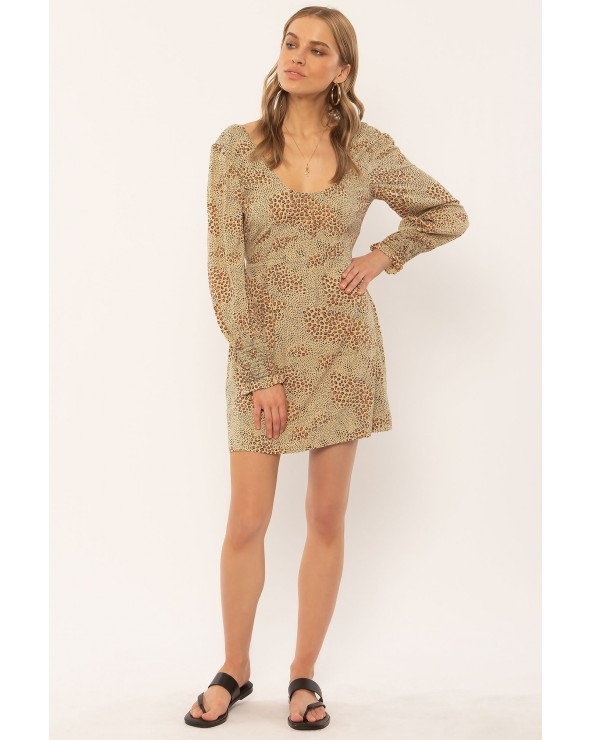 VESTIDO CORTO AMUSE SOCIETY ESTAMPADO ANIMAL PRINT WINDSWEPT