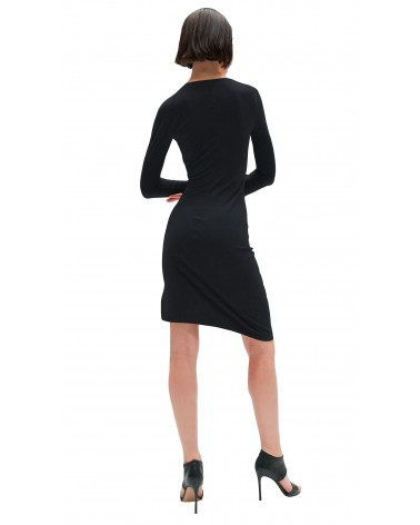 VESTIDO DRAPEADO NORMA KAMALI LONG SLEEVE SWEETHEART SIDE DRAPE DRESS TO KNEE