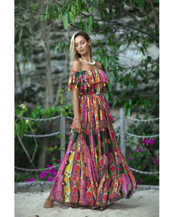VESTIDO LARGO BOHO MISS JUNE WISTERIA