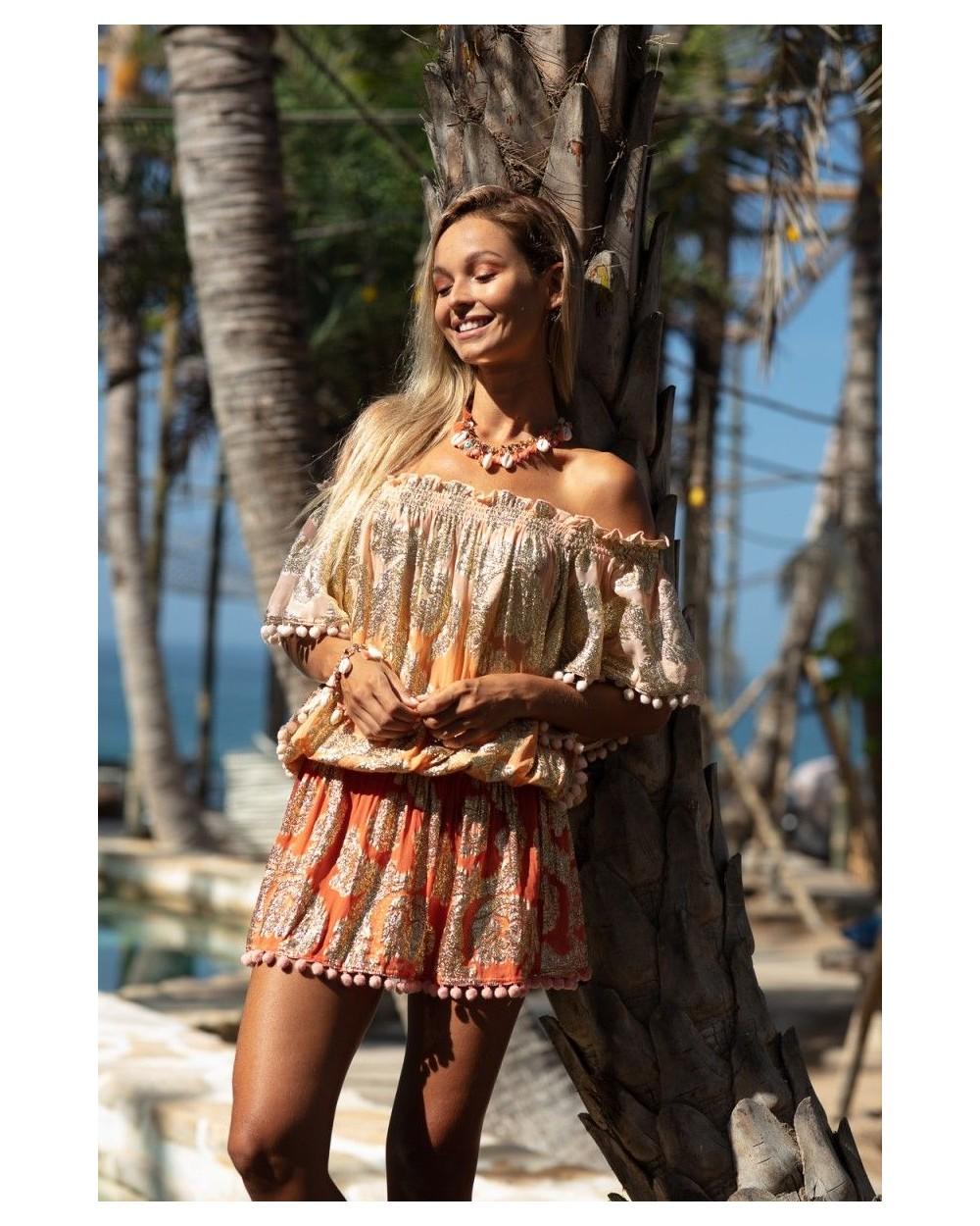vestido corto bordado miss june river