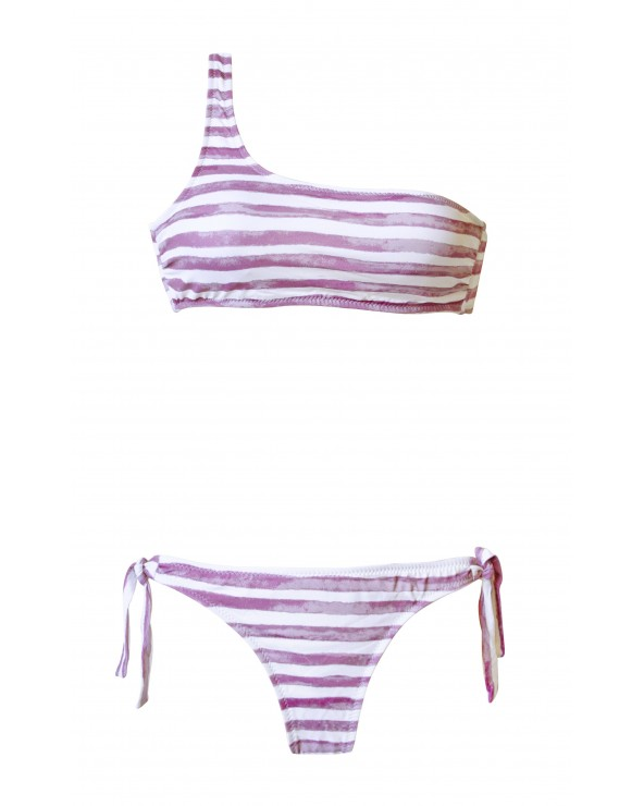 BIKINI COTTON CROWN ASIMÉTRICO CORTES BLANCO